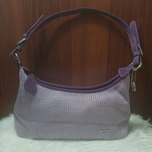 The Sak lavender knit/crochet shoulder bag